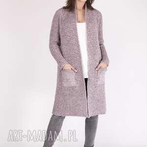 długi sweter z kieszeniami, pa003 róż mkm, dzianinowy, długi, sweter, płaszcz