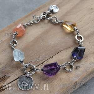 kolorowa bransoletka ametyst, akwamaryn,kamień słoneczny, cytryn, iolit