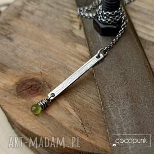 naszyjnik patyczek z oliwinem - srebro 925 - zielone, naszyjnik srebrny