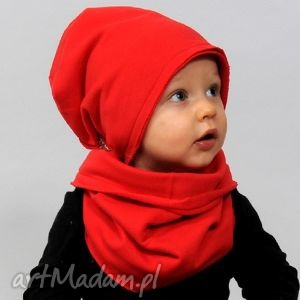 zimowa czerwona bawełniania czapeczka, bawełna, czerwona, zima, wiosna dla dziecka