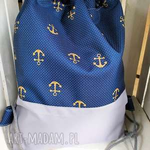 ręcznie zrobione worek plecak kotwice