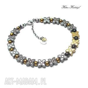 Graphite - gold /flower/ bransoletka, hematyt, srebro, romantyczna, kwiaty