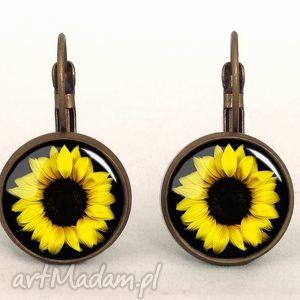 słoneczniki - małe kolczyki wiszące, kwiatowe kobiece, prezent