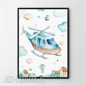 Plakat obraz helikopter 50x70 cm b2 pokoik dziecka hogstudio