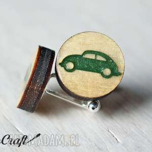 drewniane spinki do mankietów auto seria color, samochód ekologiczne