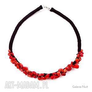 Czerwony koral i czarny len - naszyjnik, koral, wieczorowy, klasyczny, naturalny