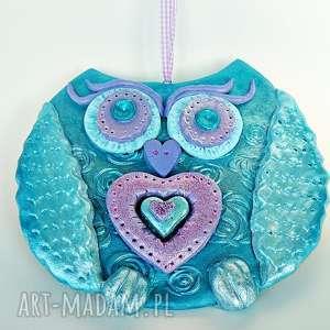 handmade dekoracje sowa z sercem z kolekcji winter. Dekoracja ścienna