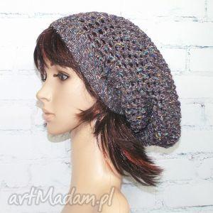 czapka - ażurowa fantazja - czapka, zima, prezent, ażurowa, długa, czapa