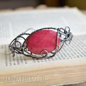malinowa elegancja - bransoletka z jadeitem, miedzi