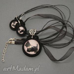sisu komplet biżuterii sutasz - pies, soutache, sznurek, terier, różowe