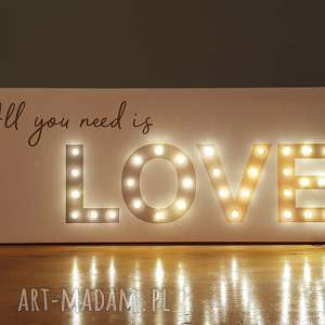 Prezent Obraz LED z cytatem ALL YOU NEED IS LOVE napis litery prezent na ślub