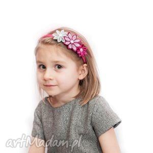 opaska dla dziewczynki z kwiatuszkami - prezent, opaski