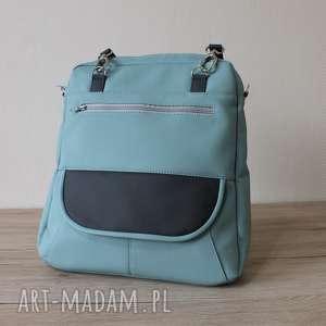 plecak torba listonoszka - miętowy i ciemny szary, elegancka, pakowna, autumn, szkoła