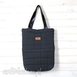 shopperka pikowana granatowa kwadraty - torebka, pikowana, shopperka, pik, pojemna, torba