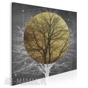 obraz na płótnie - drzewo słońce złoto noc w kwadracie 80x80 cm 96202