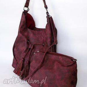 Torba na ramię ściągana bordowa, torba, torebka