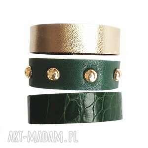 ręcznie wykonane komplet trzech bransoletek skórzanych zielone