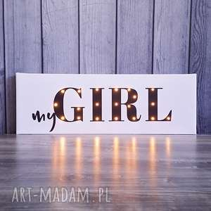 świecący napis mygirl prezent dekoracja dziewczynki lampka, obraz, girl