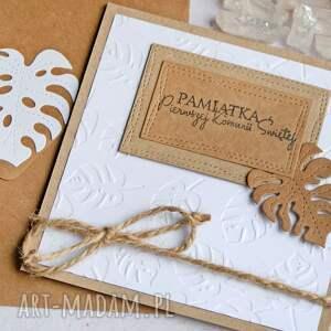 handmade kartki kartka komunijna monstera white