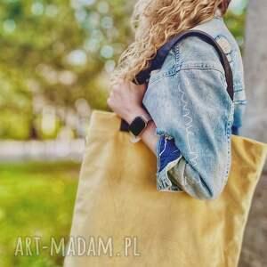 torba mr m velvet pastel żółty /uszy skóra naturalna, shopper, naturalna
