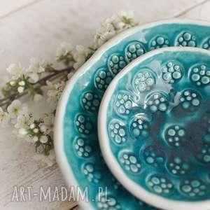 Biało-turkusowe miski dwie, ceramika, miski, komplet
