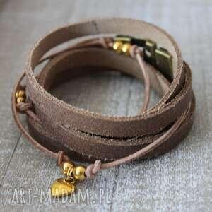 bransoletki beżowa skórzana surowa zaplatana bransoleta z sercem, beż, skóra