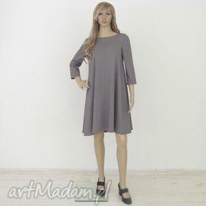 sukienki 7 - sukienka jasno szary melanż, sukienka, rozkloszowana, trapez, elegancka
