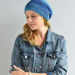 lekka bawełniana czapka, bawełna, na drutach, kobieca, niebieska czapka
