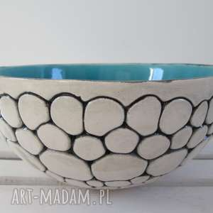 turkusowa misa ceramiczna z kulek - ,miska,duża,na-owoce,ceramiczna,turkusowa,