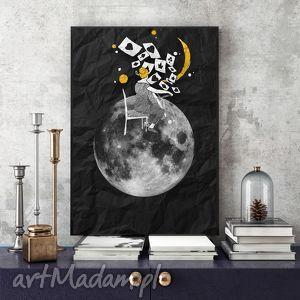 w świetle księżyca art print a4, grafika, ilustracja, księżyc, plakat, wydruk