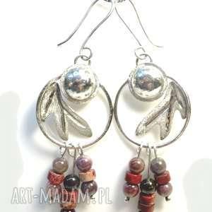 srebrne kolczyki z turmalinem jaspisem, kolczyki, srebro, biżuteria, turmalin