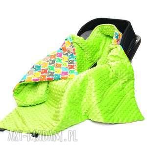 kocyk do fotelika nosidełka kolorowe misie jasny zielony - nosidełko