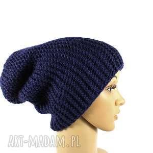 czapka granatowa unisex krasnal robiona na drutach - czapka, unisex, robionanadrutach