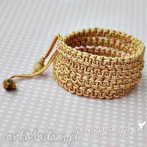 bransoletki złota makrama, szeroka, bransoletka