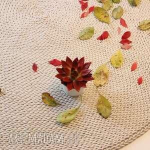 dywany dywan okrągły ze sznurka round braid ecru 140 cm, pleciony, dziergany, sznurek