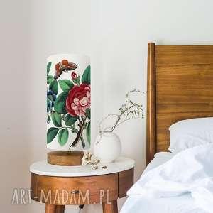 lampa drewniana ręcznie robiona cudny kwiat, dąb, bawełna, vintage, styl