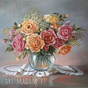 róże, ręcznie malowany obraz olejny, l olbrycht, kwiaty sztuka