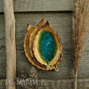 handmade dekoracje liście jabłoni turkusowe