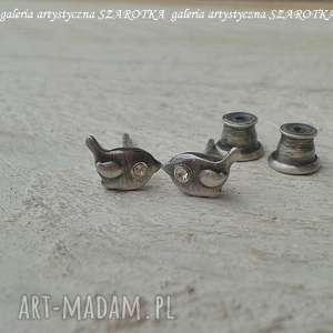 ptaszynki kolczyki ze srebra, srebro oksydowane, ptaszki sztyfty