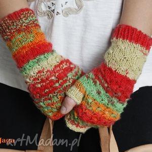 ręcznie robione rękawiczki mitenki gwiazdki