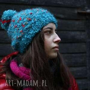 Czapka turkus w kolorowe kropki czapki kozaczka dla niej