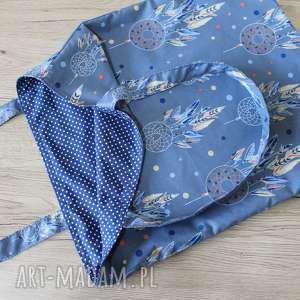 ręczne wykonanie torba bawełniana - łapacze snów i kropeczki