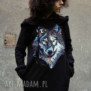 bluzy z wilkiem, wilk, zwierzę, filcowana, kaptur, dzianina