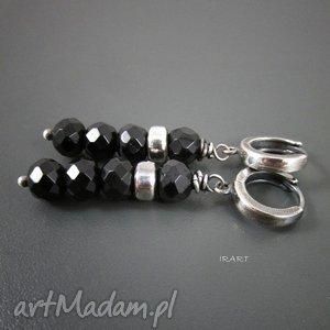 Czarny turmalin - kolczyki, srebro, oksydowane,