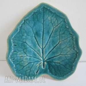 ceramika ana turkusowy listek na wszystko, ceramiczny, talerzyk, dekoracyjny