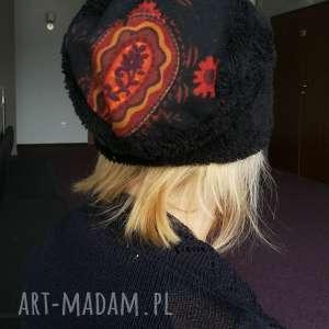 czapka czarna sztuczny miś charakter boho, mis, futerko, etno, ciepła, zimowa,