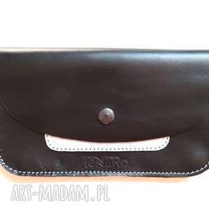portfele portmonetka skórzana z zatrzaskiem czarna, portmonetka, skóra