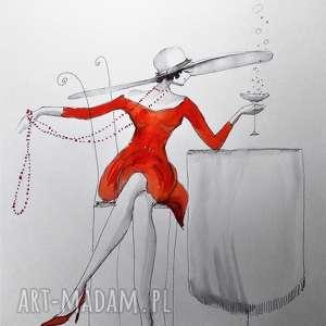 Praca akwarelą i piórkiem SZAMPAŃSKO MI artystki plastyka Adriany Laube, rysunek