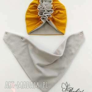 czapeczka turban polar z chustą nr 3 - bawełna, czapka komin