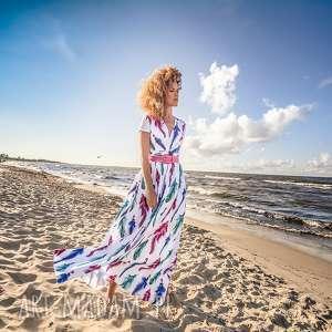 unikalny, lorita - sukienka boho, długa, zwiewna, piórka